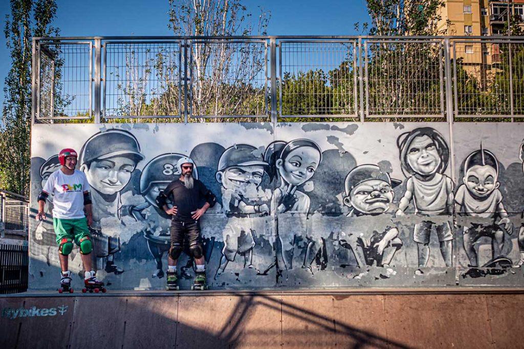 Patinadores quad en rampa skatepark Málaga Rubén Alcantara